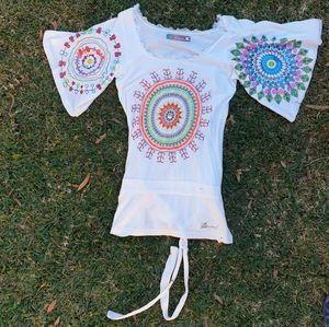 Desigual micro dress Sz M raw hem art deco